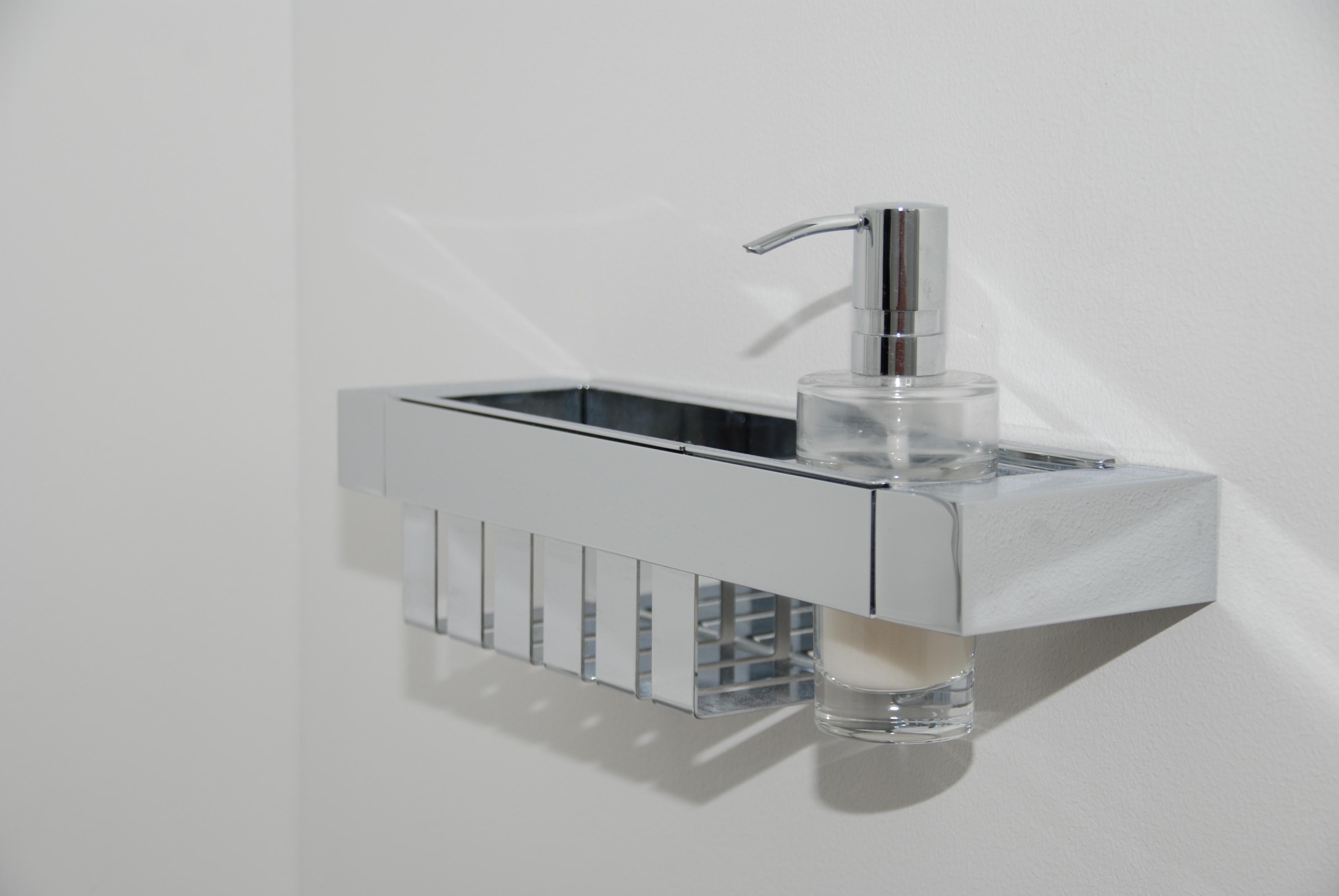 Railing mit Korb und Seifenspender aus hochwertigem Messing und Kristallglas 436,00€ / brutto, oder inkl. Montage in Verbindung einer AnuGen Armatur 506,00€ / brutto